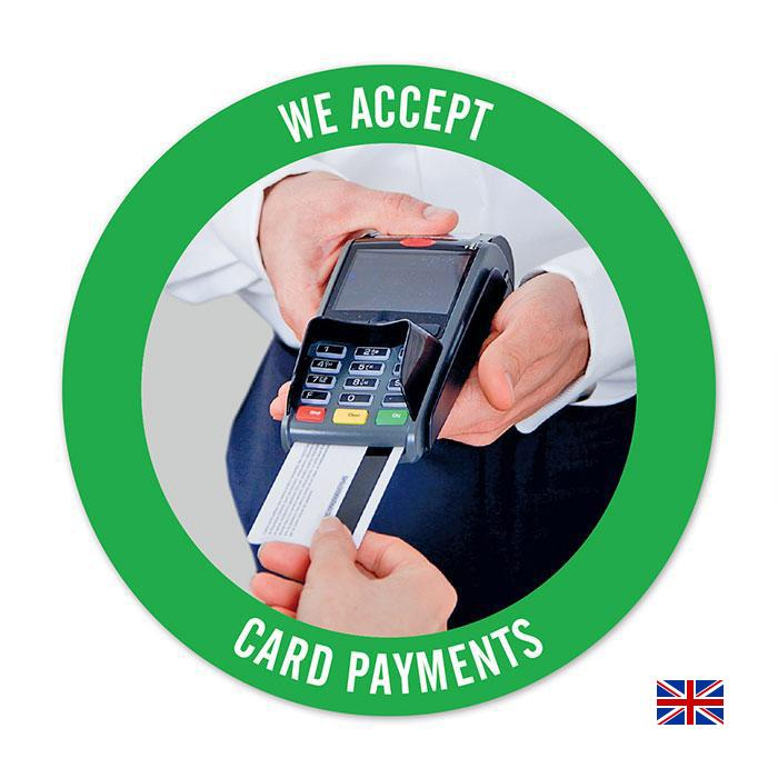Sticker:  We accept credit and debit cards  – in different sizes