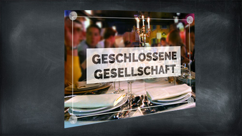 Geschlossene Gesellschaft- Schild/ Werbeschild mit Saugnäpfe