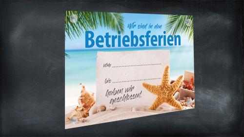 Schild: Wegen Betriebs- Urlaub geschlossen, Aushang & Ankündigung